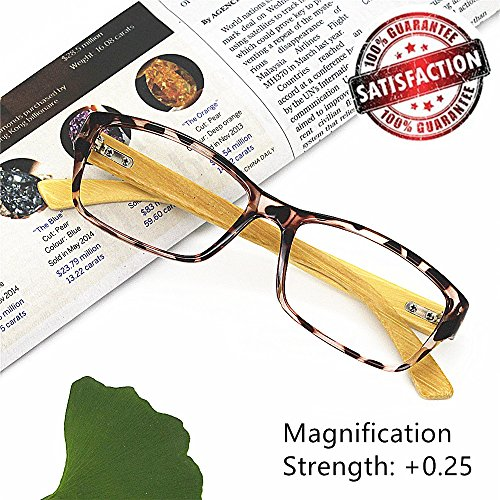 Bamboo Reading Glasses 0.25 - EyeYee 2017 New Comfortable Fit Glasses for Women Men High Magnification Light Tortoise Readers Anti Glare Anti Eye - Try Glasses At Home