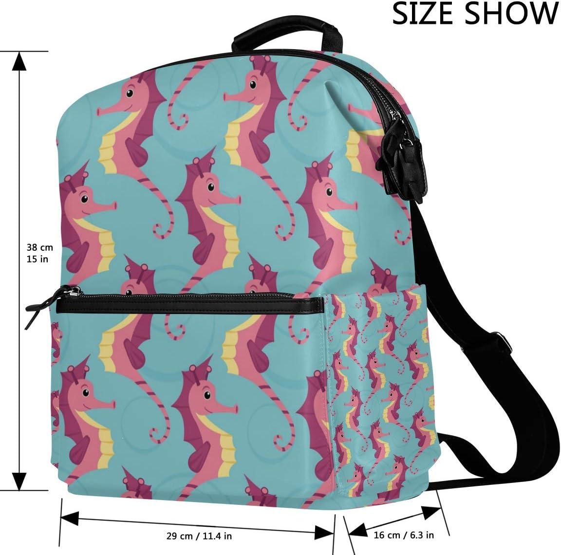 Cute Sea Hippocampus Backpack for Women Men Girl Boy Daypack Fashion Laptop Backpack School College Hiking Travel Bag Bookbag Schoolbag