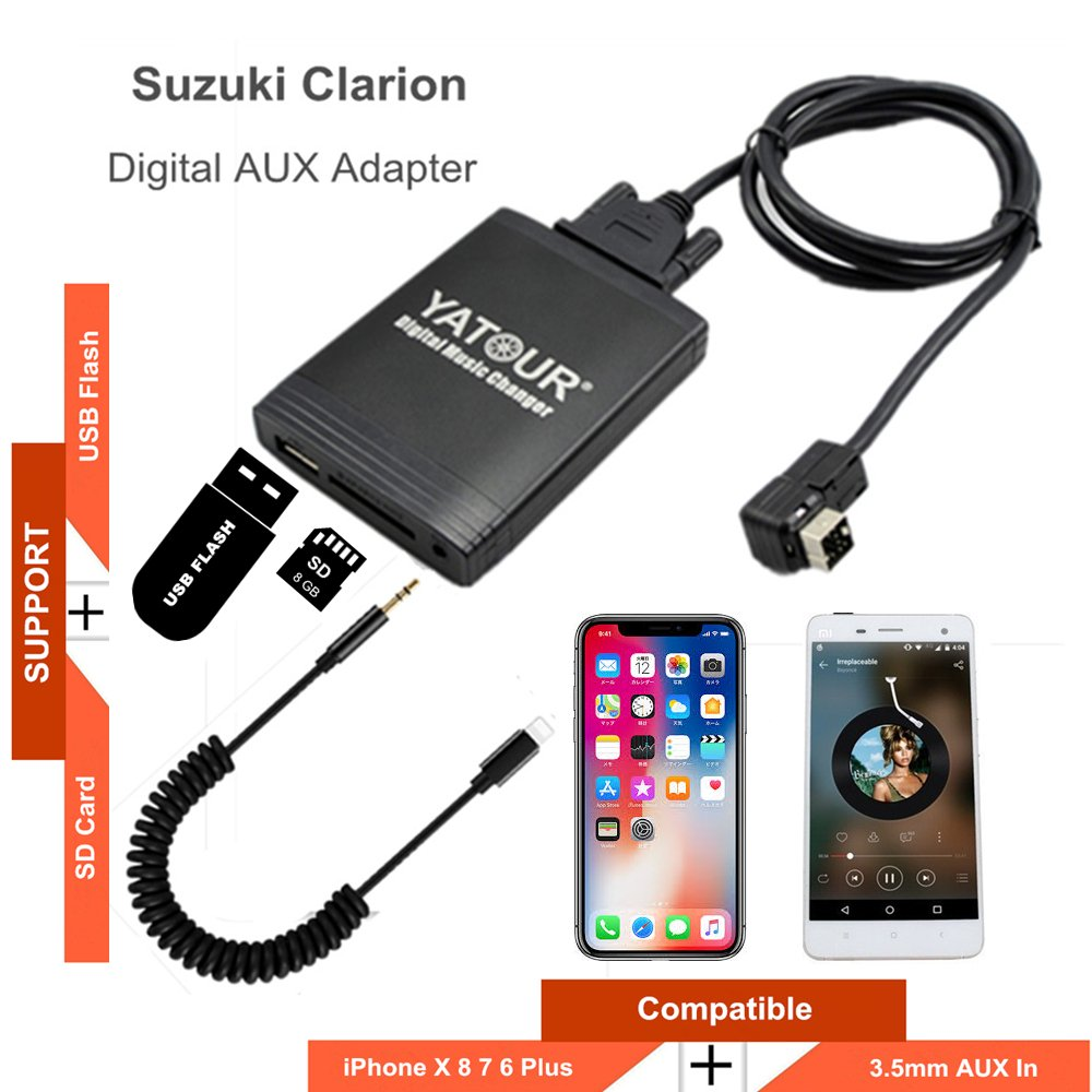 Amazon.com: Clarion Stereo AUX Adapter, Digital Car Audio Input Interface  with SD Card, MP3 USB, 3.5mm AUX in, Music Player for Ce-Net(M06-CLAR): MP3  ...