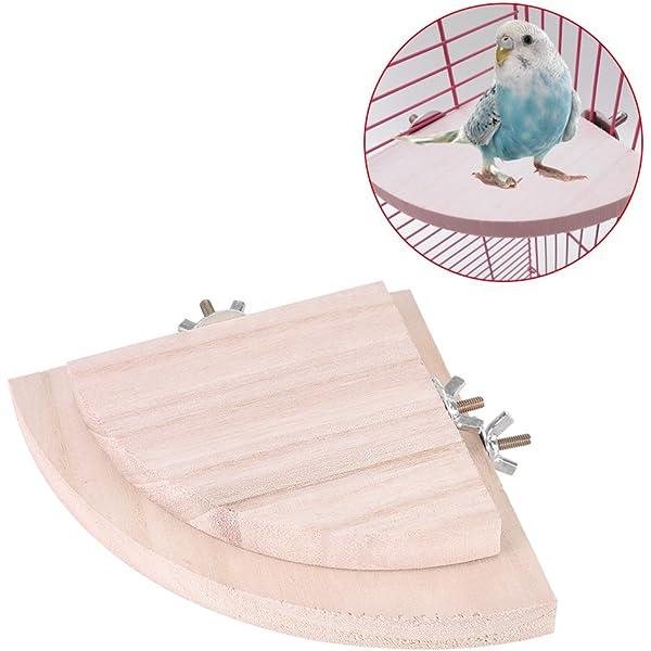Bandejas para pájaros, 2 perchas de madera para loro jaula mascota ...