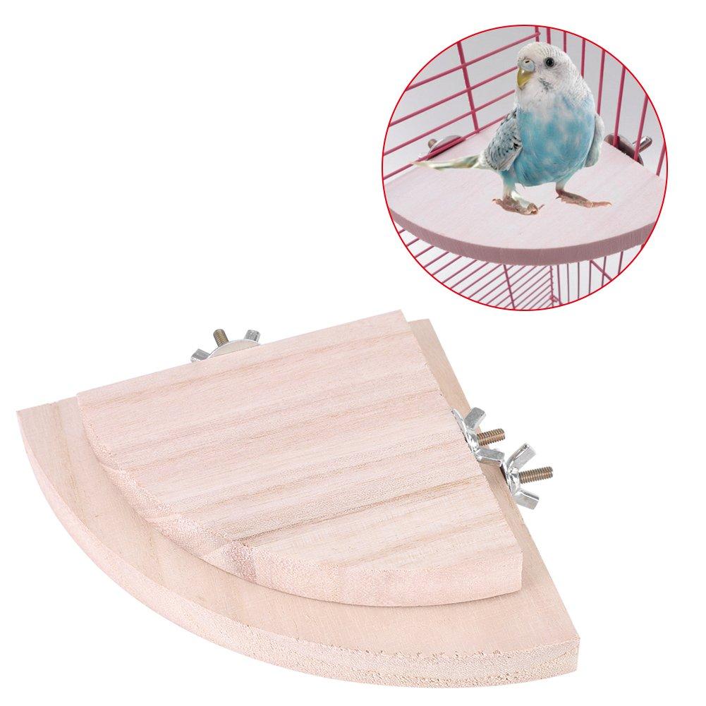 Bird Plates-formes, 2pcs Support en bois perchoirs pour cage pour perroquet pour animal domestique perruche Budgie Jouets à suspendre pour hamster Forme d'éventail Play Filfeel