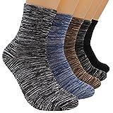 Fashionwu 5 Pairs Men Winter Antibacterial Deodorant Durable Comfortable Soft Cotton Socks Leisure Breathable Socks Set as Festive Gifts