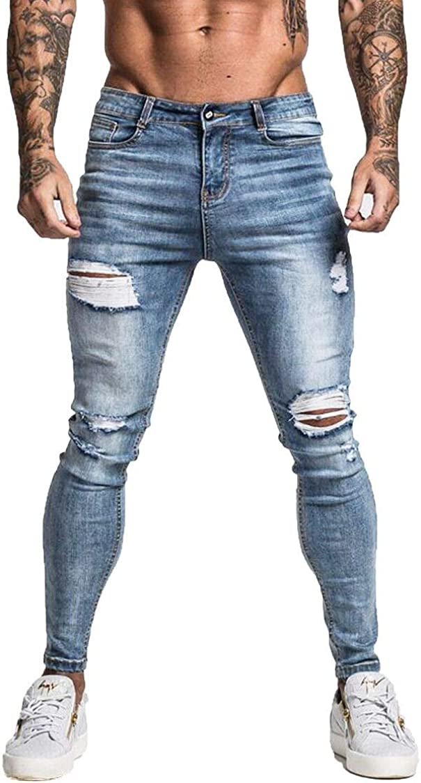 GINGTTO Men's Ripped Jeans Slim Fit Skinny Stretch Jeans Pants