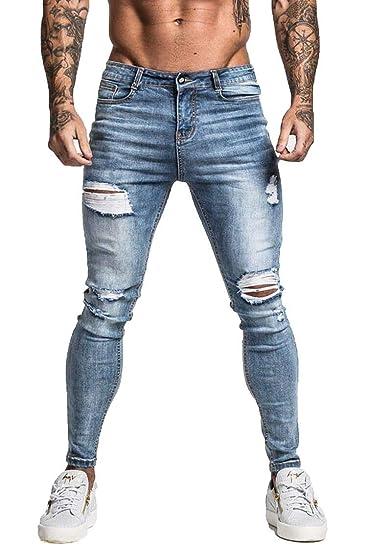 couleurs délicates 50% de réduction vraiment à l'aise GINGTTO Jeans déchirés pour Homme Slim Fit Skinny Stretch ...