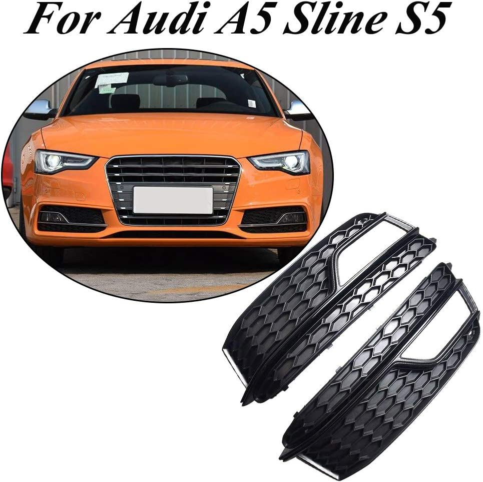 Glossy Black Chrome Ring Astra-Depot Front Bumper Fog Light Mesh Grille Compatible with Audi A5 S-Line S5 B8 RS5 2008-2012