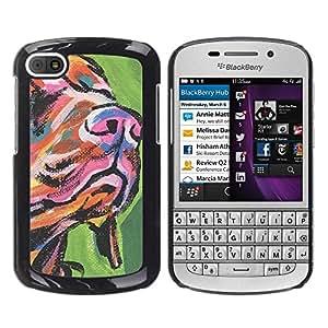 TopCaseStore / la caja del caucho duro de la cubierta de protección de la piel - Muzzle Snout Art Dog Painting Colorful - BlackBerry Q10