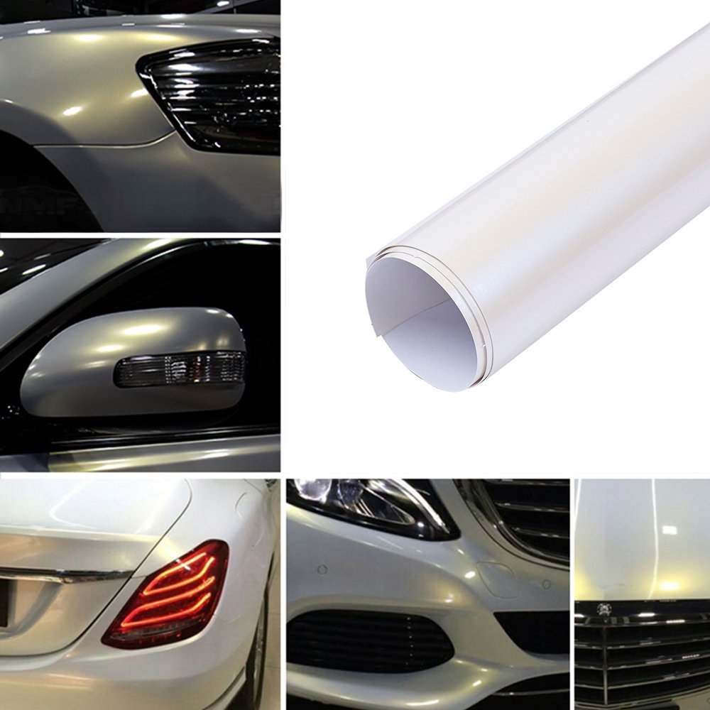 ATMOMO Bright White with Gold Self Adhesive Shiny Chameleon Car Vinyl Film Wrap Color Change Car Body Sticker Decal Sheet Film 1.52Mx30CM 4332946664