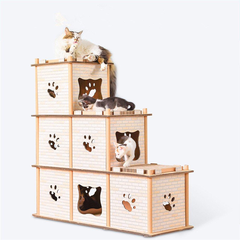 QNMM Gato Apartamento Interior Estéreo Gato Casa Gato Garras Casa Arañazo Placa Protección Duradera del Medio Ambiente, Adecuado para Gatos Menores De 11 ...