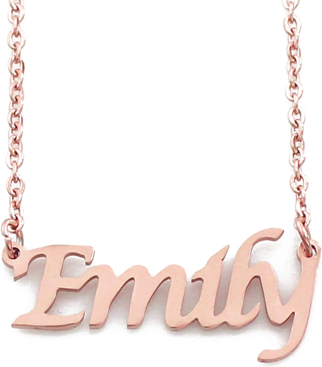 Personalized Disney Name Necklace Yellow Gold or Rose Gold Emily Charm