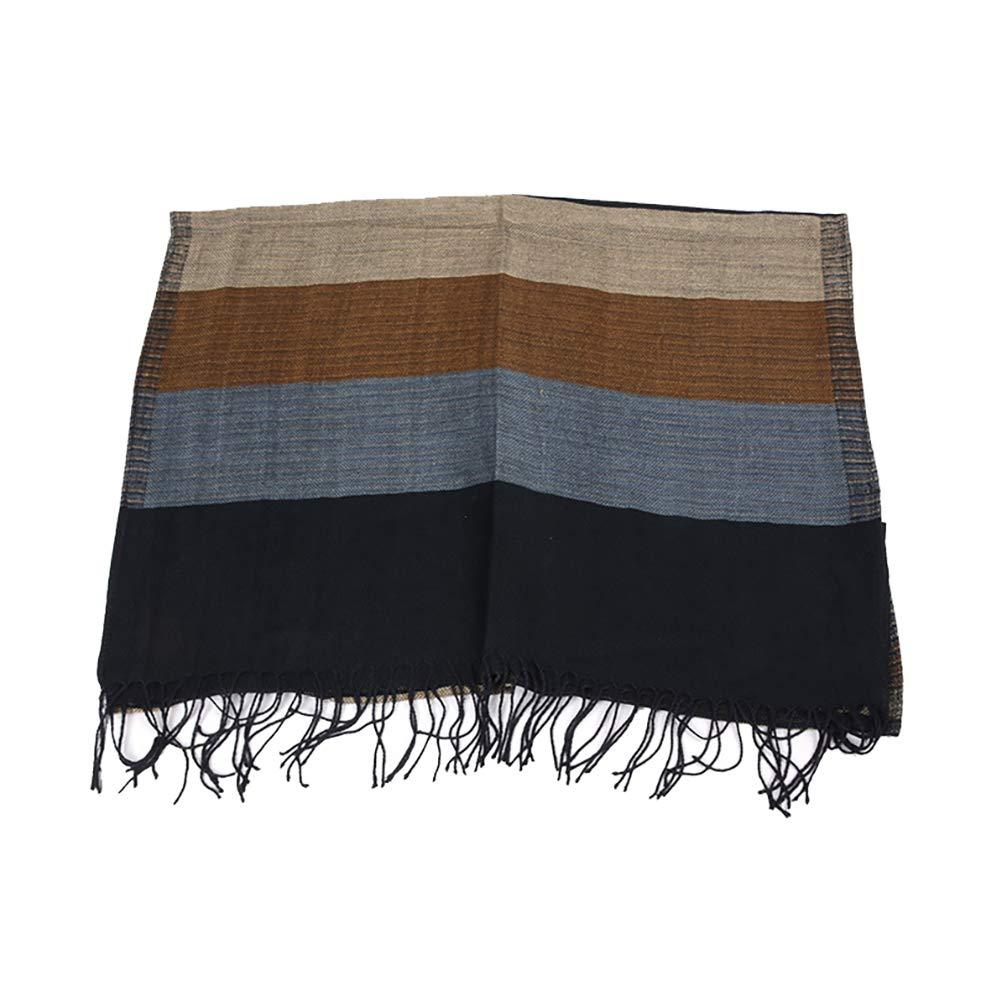 RUYA Mens Winter Scarf Soft Long Color Block Stripe Acrylic Warm Scarves