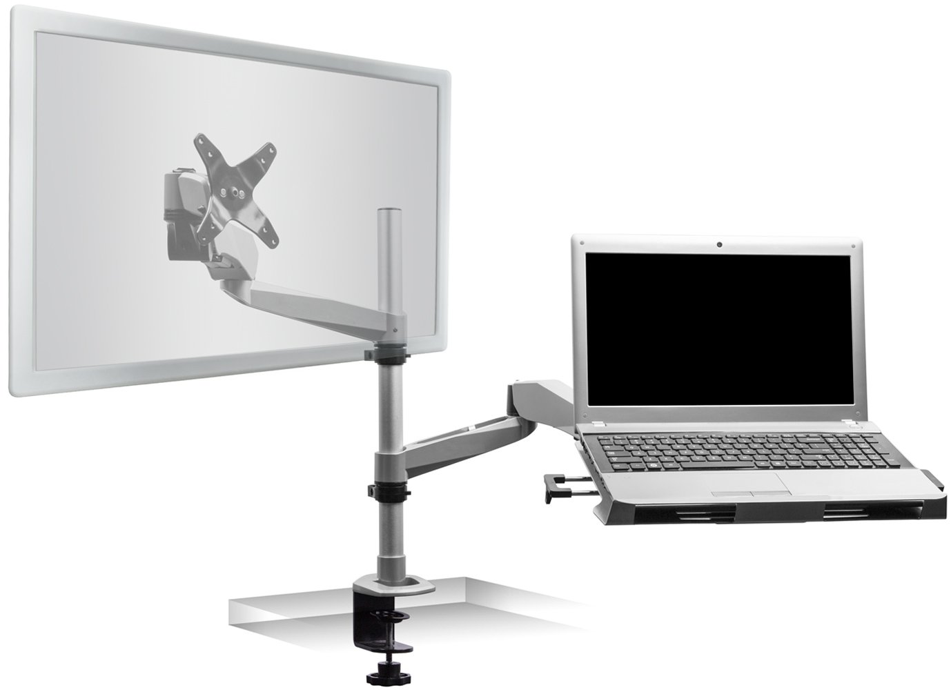 Mount-It! MI-75911 Dual Arm Full Motion Adjustable Height, Articulating, Tilting, Rotating, Desk Table Mount with Vented Laptop and Mouse Mount and Holder Stand for Laptops, Tablets, and Notebooks with LCD, LED, and PC Monitors Mount, Grommet, Silver