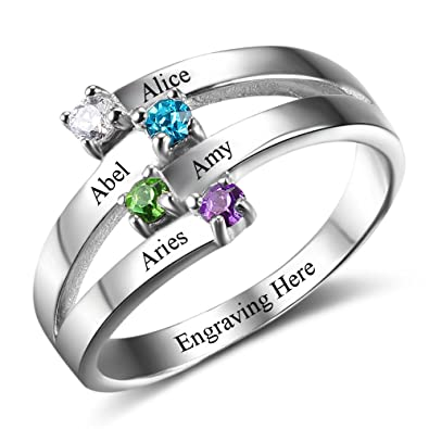 a8813886e7af9 Diamondido Personalized Mother Daughter Ring Engraved Names ...