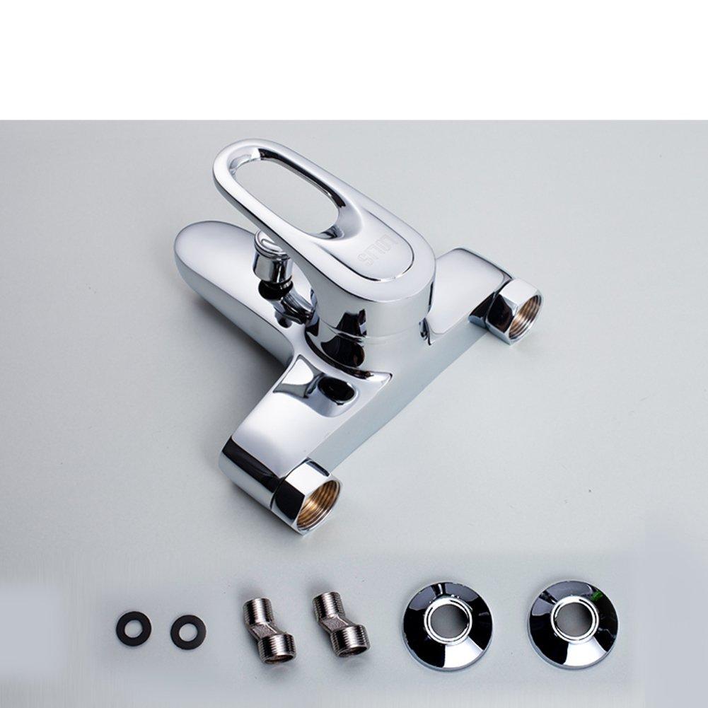 Badewanne Wasserhahn Kupfer Brausebatterie heiß und kalt/einfache Badezimmer-Dusche-Set/Toilette Mischventil-E