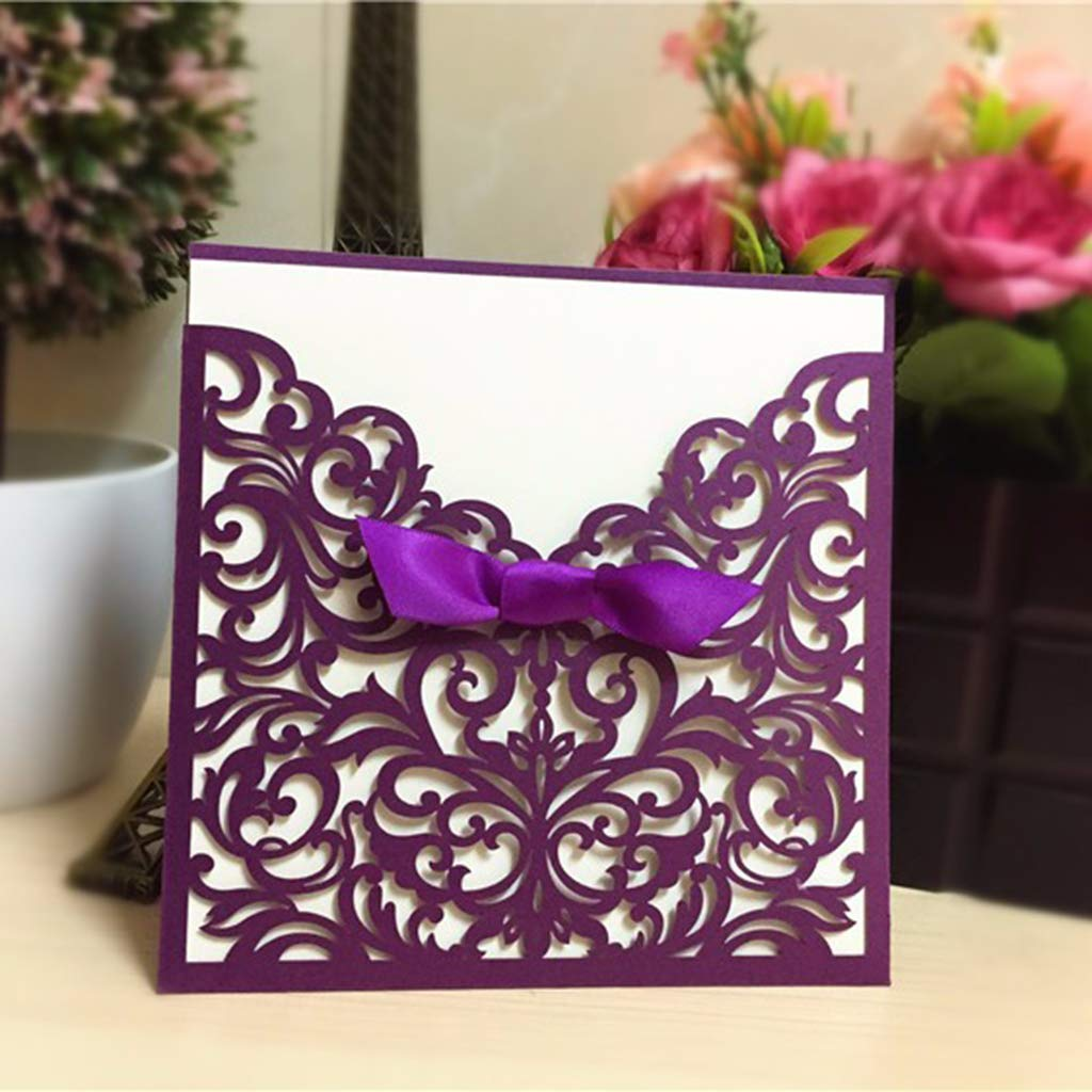 Fliyeong Wedding Invitations Cards 25X Laser Cut Floral for Marriage Anniversary Birthday Graduation Quinceanera Purple New Released