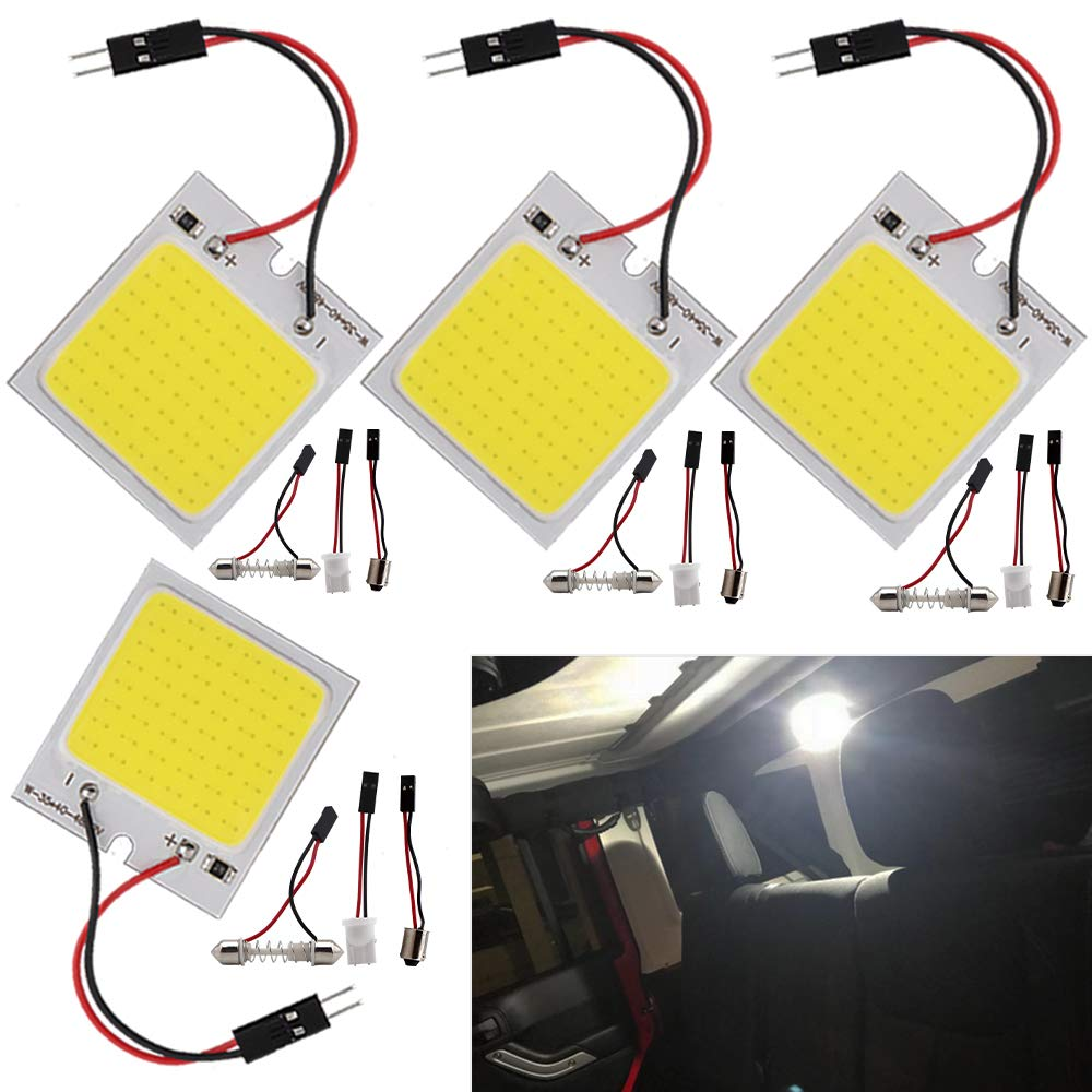 Everbright 4-Pack Super White New Energy-saving COB 48-SMD LED Panel Dome Lamp Auto Car Interior Reading Plate Light Roof Ceiling Interior Wired Lamp With 4 pics BA9S Adapter, 4 pics T10 Adapter, 4 pics Festoon Adapter(31mm-41mm) (DC-12V)