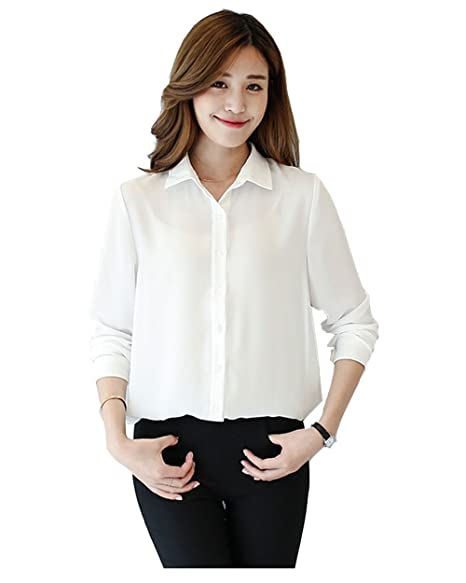 0762ee6b9 Women Long Sleeve Chiffon Shirt Blouse Tops Elegant Solid Shirts White  X-Large at Amazon Women's Clothing store: