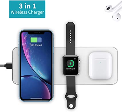 Qi-Certified Wireless Charging Dock with USB Port Wireless Charger Charging Station for Multiple Devices i.VALUX 4 in 1 Wireless Charger for iPhone 11//X//Xs//Apple Watch//4//3//2//1 // Airpods