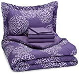 Purple and Teal Twin Bedding AmazonBasics 5-Piece Bed-In-A-Bag - Twin/Twin Extra Long, Purple Floral