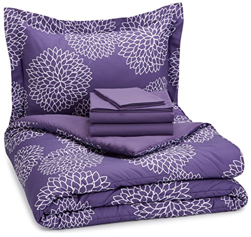 AmazonBasics 5-Piece Bed-In-A-Bag Comforter Bedding Set - Twin or Twin XL, Purple Floral, Microfiber, Ultra-Soft