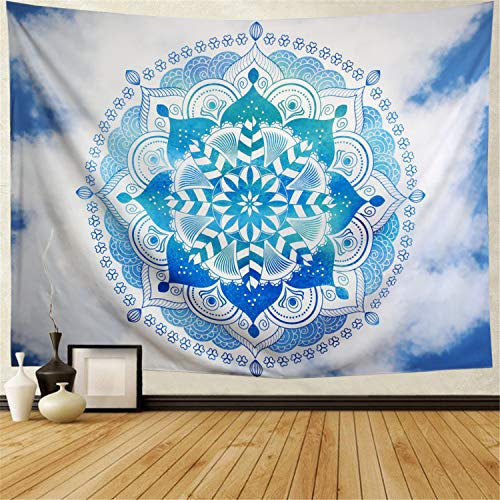 Leofanger Bohemian Psychedelic Sky Mandala Tapestry Blue and White India Hippie Floral Wall Tapestry Mandala Peacock Flower Tapestry Wall Hanging for Room (W59.1 × H51.2, Sky Mandala)