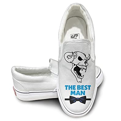 Tcad3A Claw Demon With Bow Tie Logo Customized Bottom Canvas Shoes For Girls Slip On Shoes White