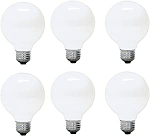 GE Lighting 12982 G25 Incandescent Soft Globe Light Bulb, 25-Watt, 6-Pack, Frosted White, 6