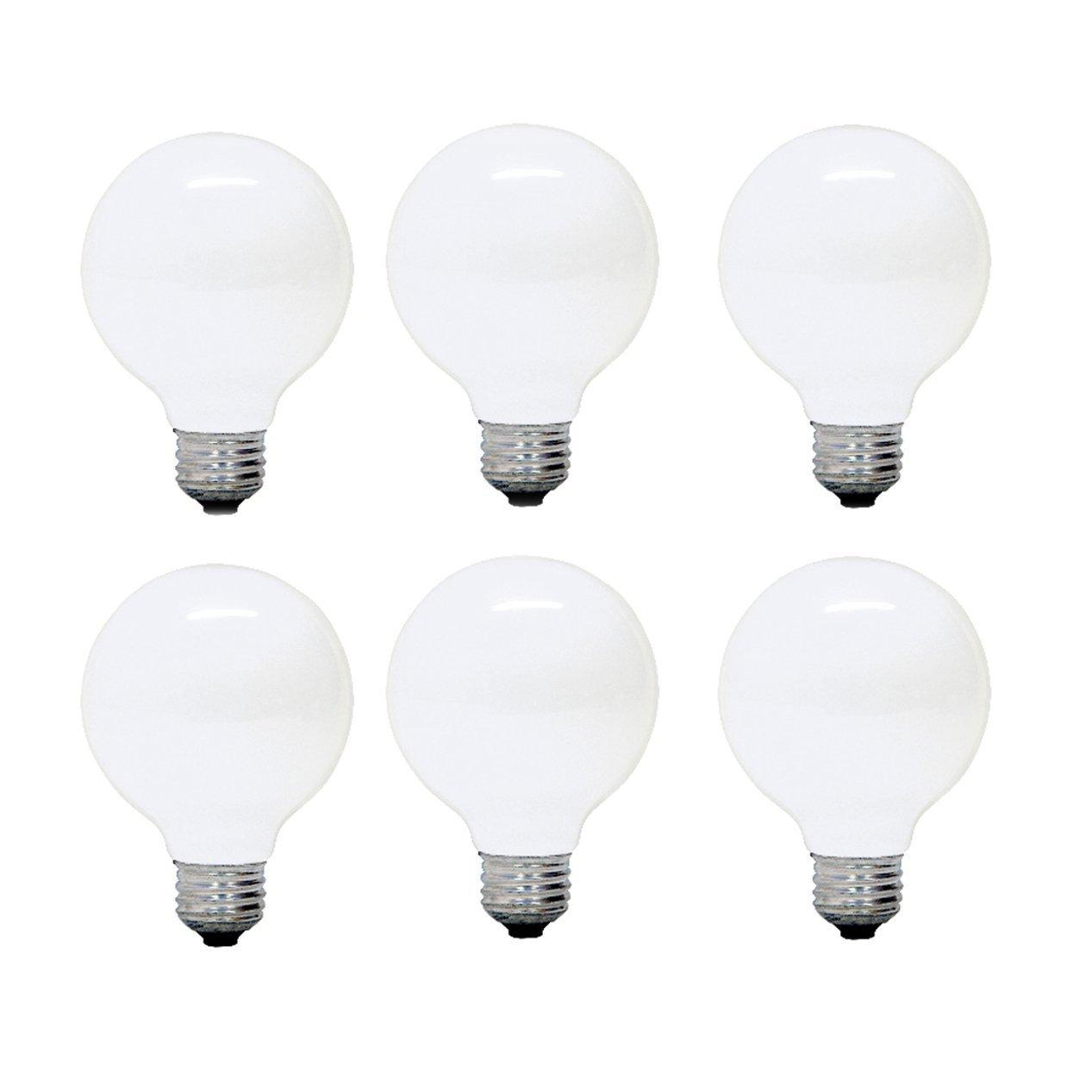 GE Lighting 12982 Not Not Available G25 Incandescent Soft White Globe Light Bulb, 25-Watt, 6-Pack, Frosted,
