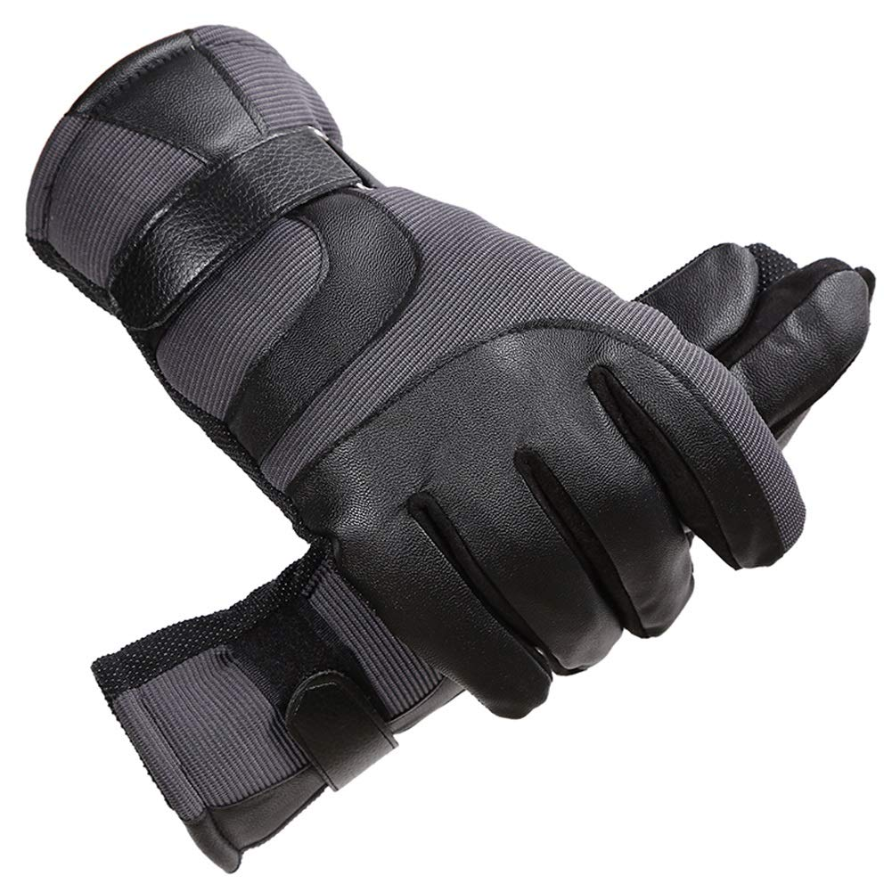 AINIYF Ski Gloves | Men's Leather Mittens Winter Windproof Non-slip Warm Plus Velvet Thicken Outdoor Cycling Bike Full Finger Motorcycle Mittens Winter (Color : Gray)