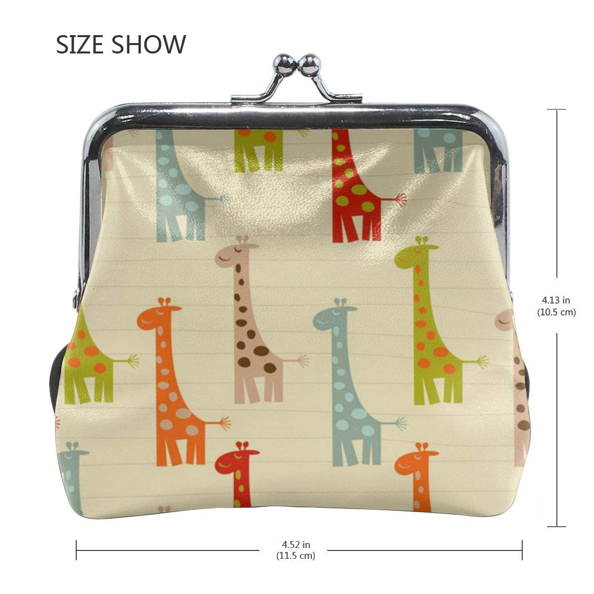 Yunshm Pattern With Giraffes Vector Image Personalized Leather Classic Floral Coin Purse Clutch Pouch Wallet For Womens