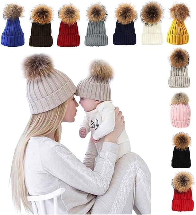 7356c67d xsby Knitted Cozy Warm Winter Snowboarding Ski Hat with Pom Pom Slouchy Hat