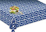 Picnic/Party Plastic Disposable Tablecloth Roll Blue Design,Picnic colored Table covers On a Roll With Self Cutter Box,Cut Tablecloth To Your Own Table Size,Indoor/Outdoor, By Clearly Elegant