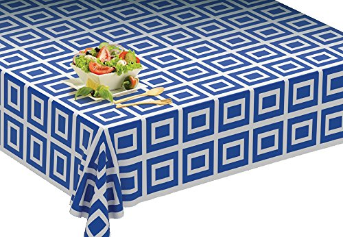Picnic/Party Plastic Disposable Tablecloth Roll Blue Design,Picnic colored Table covers On a Roll With Self Cutter Box,Cut Tablecloth To Your Own Table Size,Indoor/Outdoor, By Clearly Elegant by Clearly Elegant