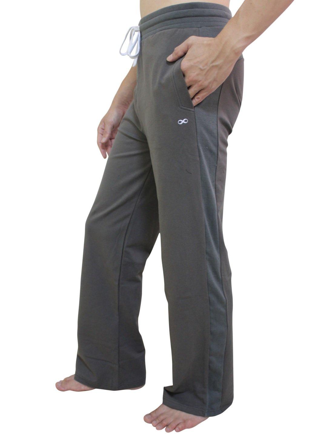YogaAddict Men Yoga Long Pants, Pilates, Fitness, Workout, Casual, Lounge, Sleep, Martial Arts Pants, Army Green - Size L by YogaAddict