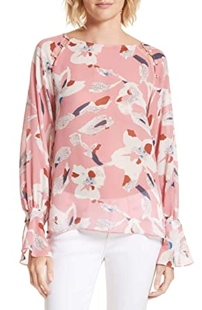 6d1cf106ee95e2 Image Unavailable. Image not available for. Color: Tanya Taylor Samile Hand-Painted  Pink Floral Print Silk Blouse Top
