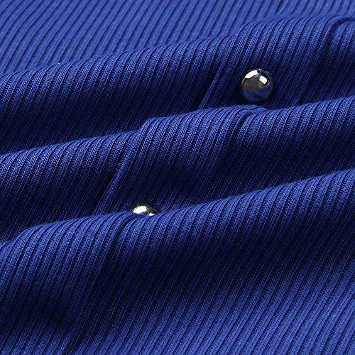 robe Femmes tele Slim Bleu jupe longues col Mode c lgante bas rond manches Frx6zFqw