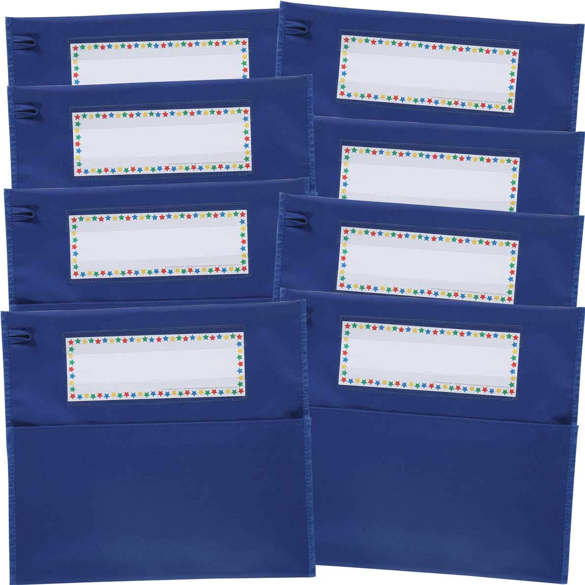 Really Good Stuff Store More Chair Pockets - Set of 8 - Pocket Chair Organizer with Name Tag Keeps Students Organized and Classrooms Neat - Blue by Really Good Stuff
