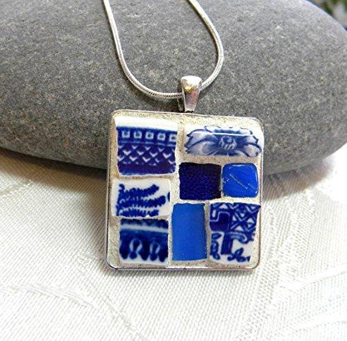 Amazon mosaic pendant necklace shades of blue handmade mosaic pendant necklace shades of blue aloadofball Choice Image