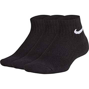 Nike Calcetines – Performance Cushioned Quarter Entrenamiento (3 Pair) Negro/Blanco Tamaño: