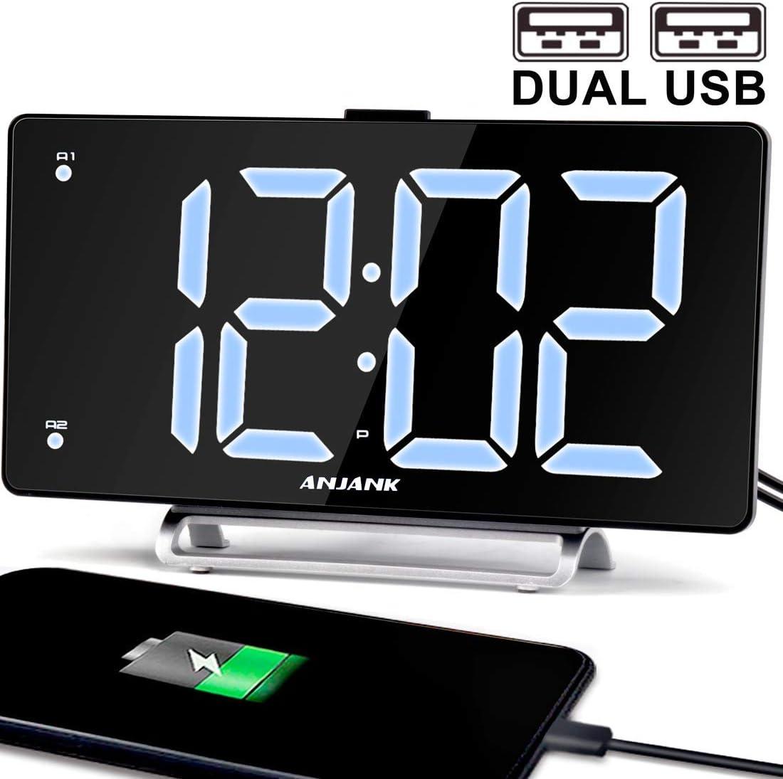 9 Digital Alarm Clock Large LED Display Dual Alarm with USB Charger Port for Bedrooms Bedside Desk Clocks Big Number Simple Seniors Clock Renewed