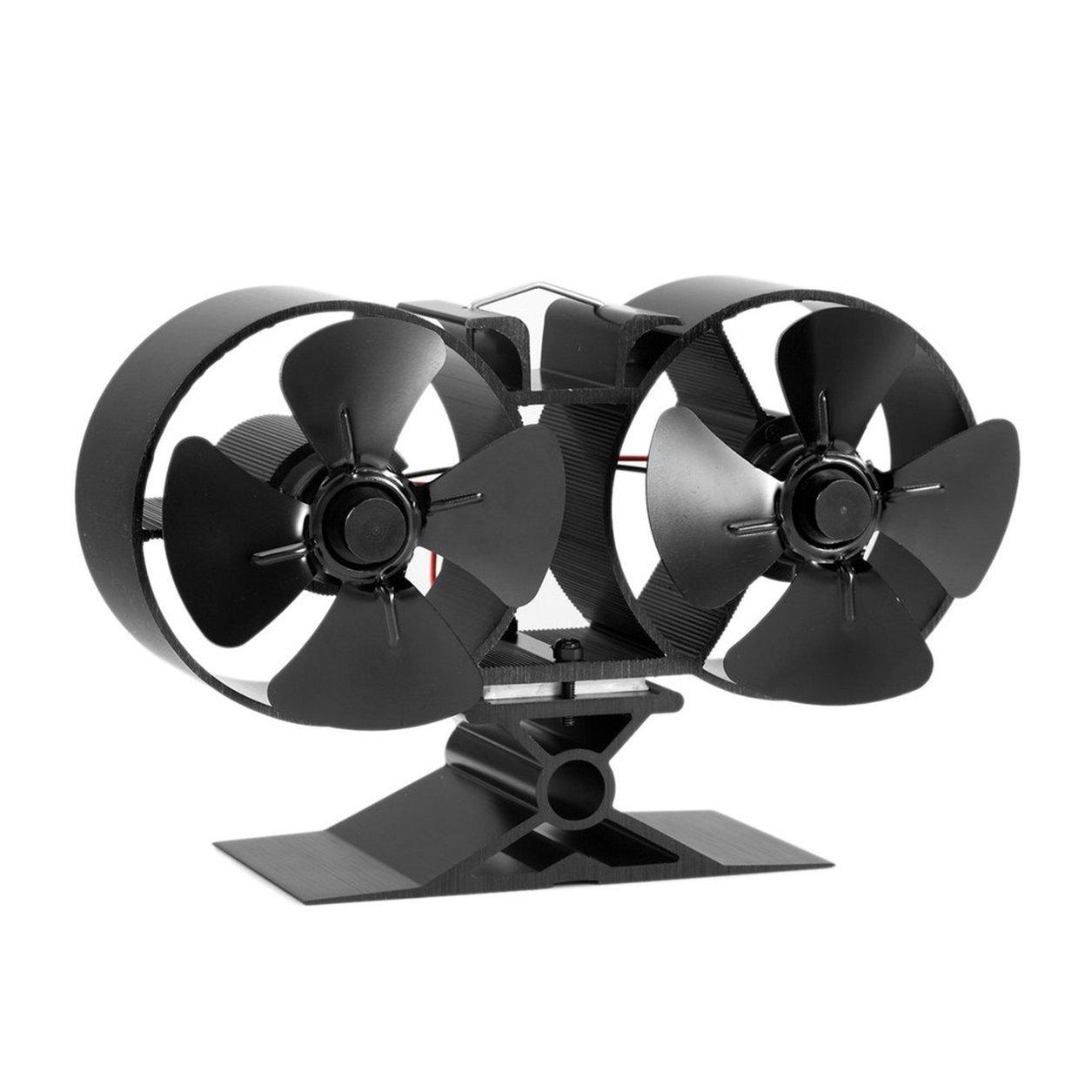 Dailyinshop 4 Blades Doppelwärme PoweROT Herd Fans F260 Startseite Kraftstoff Energiesparherd Fan