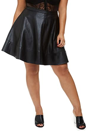 bba6a0d538ac Fashion To Figure Women s Plus Size MIA Faux Leather Flare Skirt at Amazon  Women s Clothing store