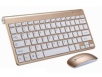 Teclado inalámbrico, ratón, teclado 2.4 G Mini Teclado, pequeño, Chocolate portátil ordenador, teclado Bluetooth dorado dorado 28.5cm*133cm*1.8cm: ...