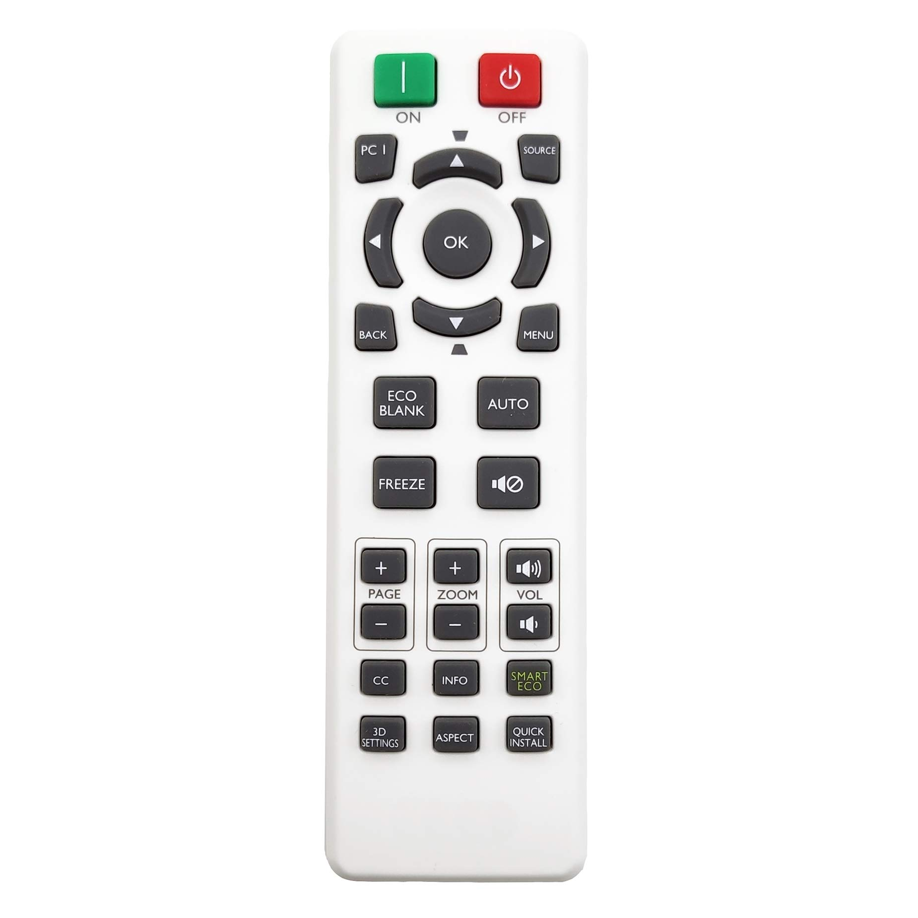 InTeching 5J.JG706.001 Projector Remote Control for BenQ RCX013, MH530FHD, MH534, MH606w, MS521H, MS524AE, MS531P, MW526AE, MW533, MW605w, MX532P, MX604, MX604w, TH534, TW533, MS535A, MW535A, MH5353A