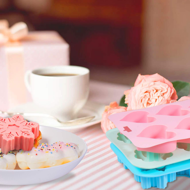 Senbowe Silicone Donuts Baking Mold- Set of 4 | Silicone Cake Baking Molds,| Round Doughnut-shape (6) | Flower-shape(6)| Snowflake-shape (6)|Non Stick Baking Molds Set | Oven & Dishwasher Safe by senbowe (Image #5)