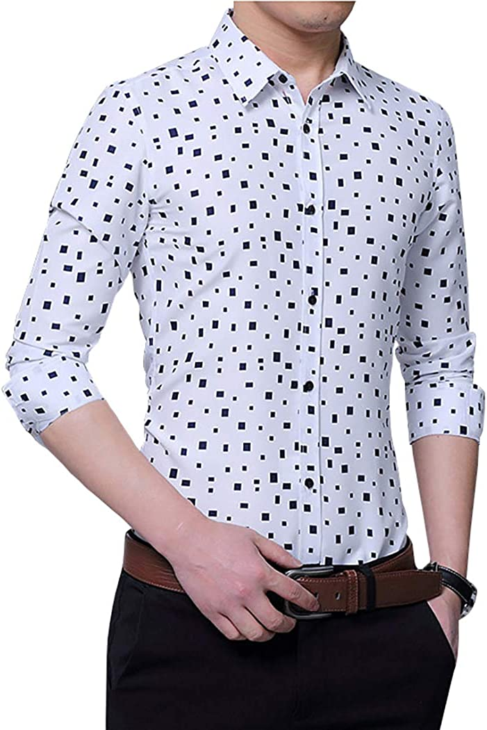 TAOBIAN Mens Casual Slim Fit Dress Shirts Long Sleeve Button Down Shirts