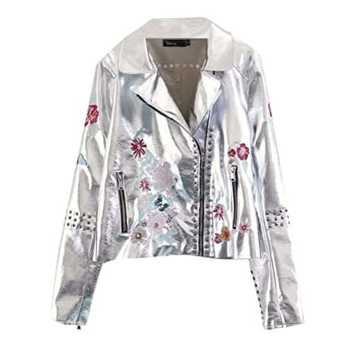 Zhhlinyuan PU Leather Ladies Chaqueta Moto Mujer Embroidery Flower Design Ocio Outerwear Fashion Star Clothing