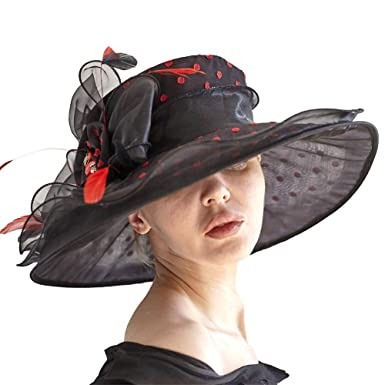 58d48c6eb9c30 June s Young Women Hats Organza Lace Polka Dot Black White Wedding Wear  Fedoras (Black)