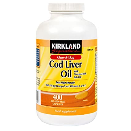 Kirkland Cod Liver Oil with Omega 3 rich Fish Oil 400 Capsules by Kirkland Signature