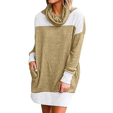 Linlink Abrigos Mujer Invierno Elegantes Caliente Bolsillo Alto Cuello Manga Larga Mini Vestido Sudadera de suéter Vestido: Amazon.es: Ropa y accesorios