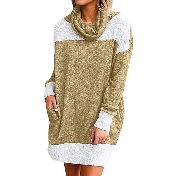 9b69d038d5 MEIbax Cuello alto de manga larga costura de terciopelo vestido Sudadera Mujer  Vestido de suéter de Manga Larga con Cuello Alto de Invierno cálido  Bolsillo ...